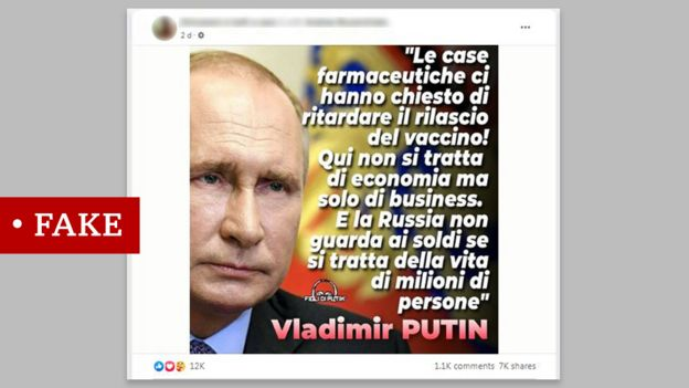 """Fake quote attributed to President Putin in Italian saying: """"Pharmaceutical companies have asked us to delay the release of the vaccine! It's not about economics. Russia does not think about money when it comes to the lives of millions of people"""""""