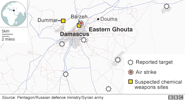 Map showing where strikes are reported to have hit Syria on 14 April 2018