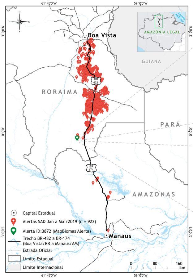 Mapa mostrando alertas de desmatamento entre Manaus (AM) e Boa Vista (RR)