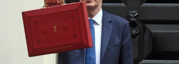 Philip Hammond holding Budget box