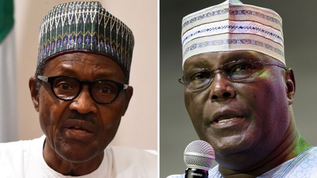 Composite picture showing Muhammadu Buhari and Atiku Abubakar