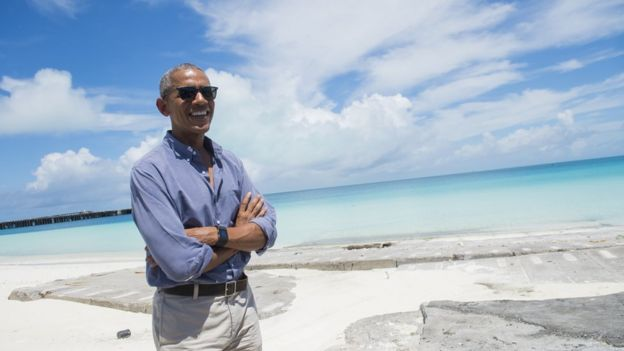 US President Barack Obama tours Midway Atoll in the Papahanaumokuakea Marine National Monument in the Pacific Ocean.