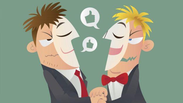 Ilustración de dos hombres con caretas que fingen ser amigos.
