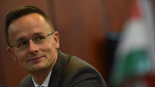 El canciller de Hungría Peter Szijjarto,