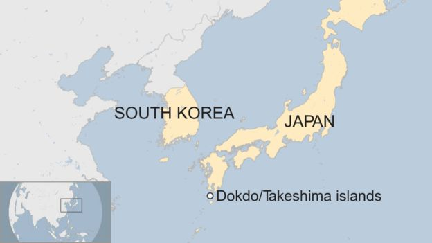 A map showing the location of the Dokdo/Takeshima islands