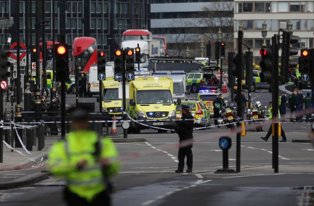Emergency vehicles on Westminster Bridge following the terror attack