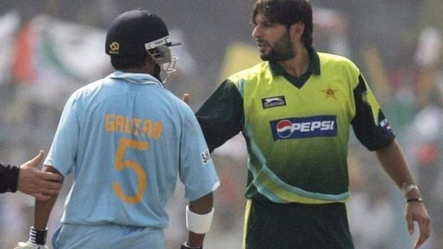 Shahid Afridi and Gautam Gambhir in a match between India and Pakistan