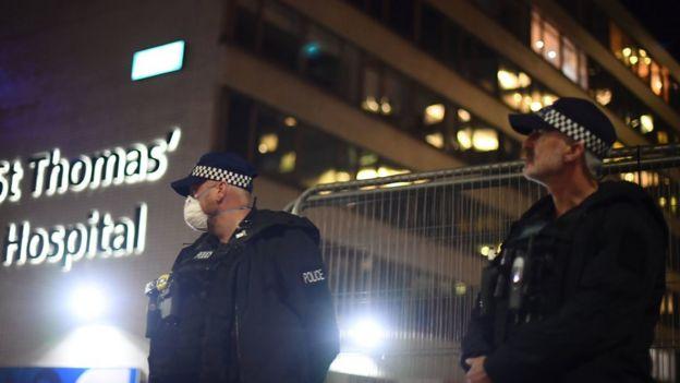 Police outside St Thomas' Hospital, London
