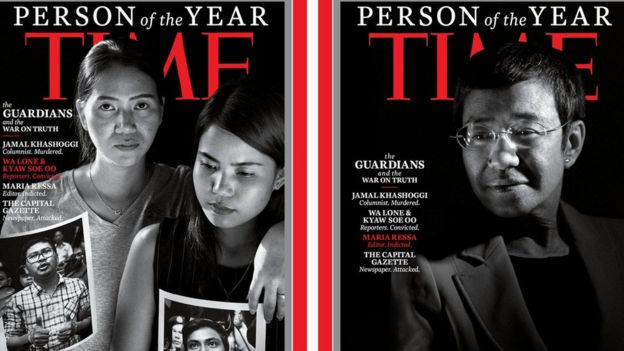 Time covers featuring Maria Ressa, and photos of Wa Lone and Kyaw Soe Oo