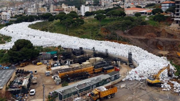 A river of rubbish in Beirut