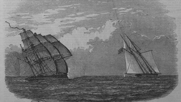Ilustração de navio americano com escravo