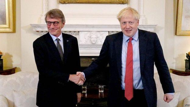 David Sassoli (left) and Boris Johnson