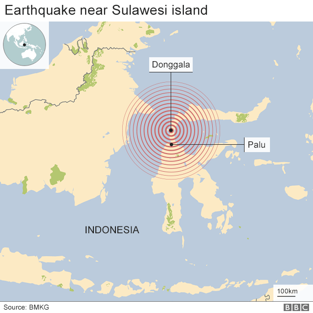 Map showing the epicentre of the earthquake near Sulawesi island in Indonesia