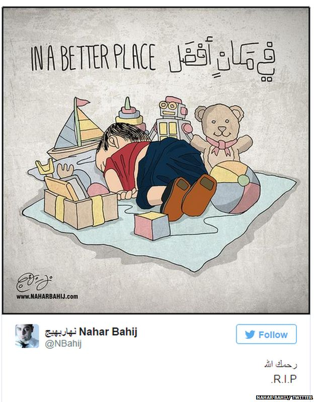 """Tweet with cartoon of dead child surrounded by toys, with the caption """"In a better place"""""""