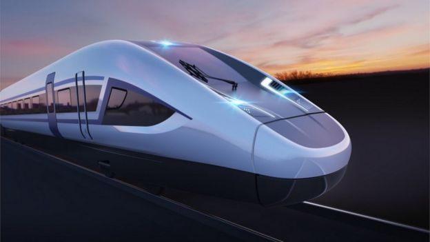 Computer generated image of an HS2 train