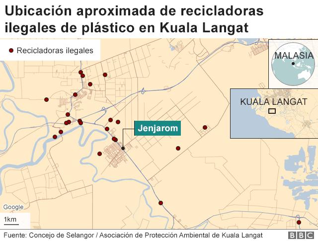 Mapa con la ubicación de los lugares ilegales de desechos
