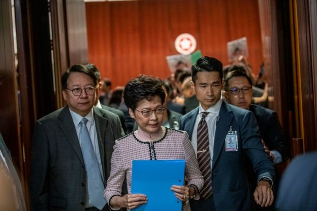 Carrie Lam is seen leaving the Chamber of the Legislative Council during the Chief Executive Policy Address in Hong Kong, China, October 16, 2019. Hong Kongs Chief Executive Carrie Lam Announced her policy Address today this is her third policy address in her term