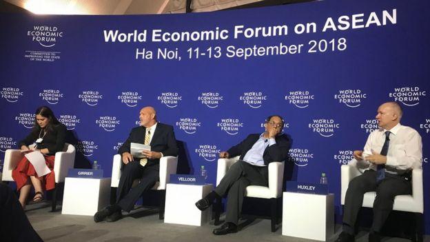 Phiên thảo luận 'Understanding Asia's New Balance of Power' diễn ra trong khuôn khổ Diễn đàn Kinh tế Thế giới về ASEAN tại Hà Nội.