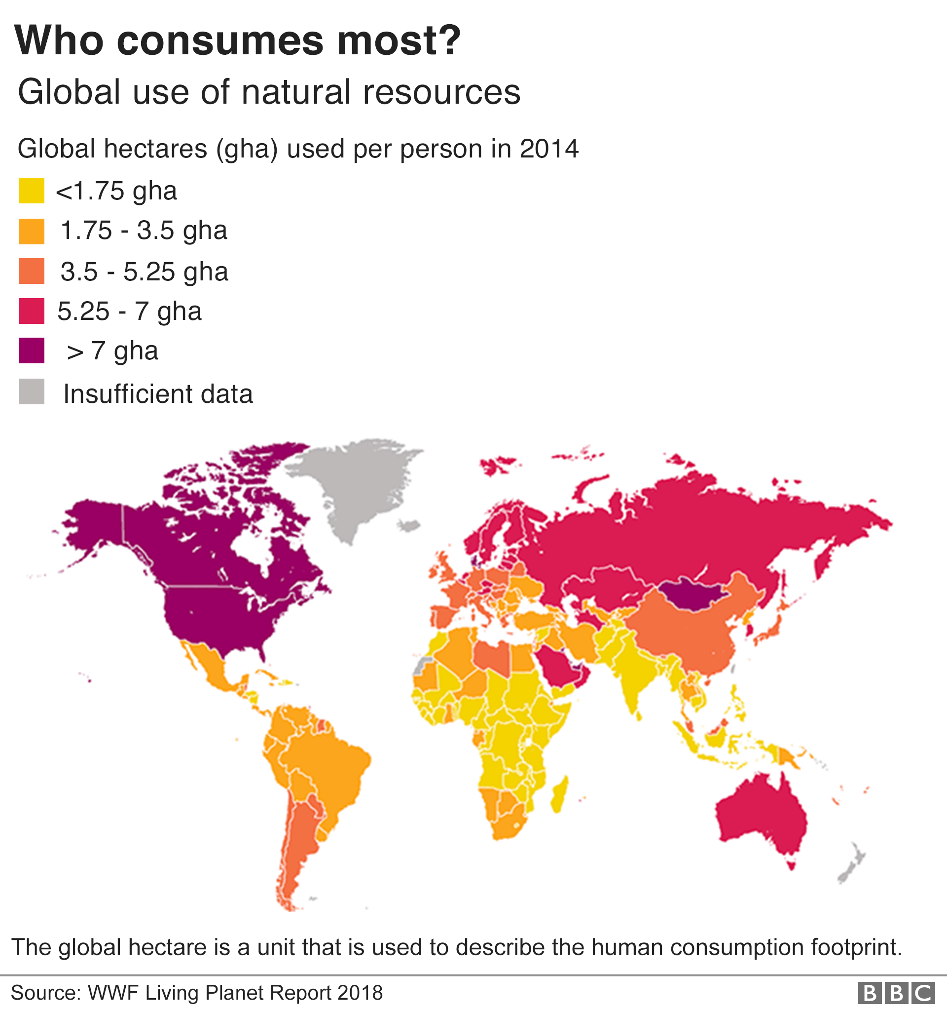 Map showing human consumption per country as measured in global hectares