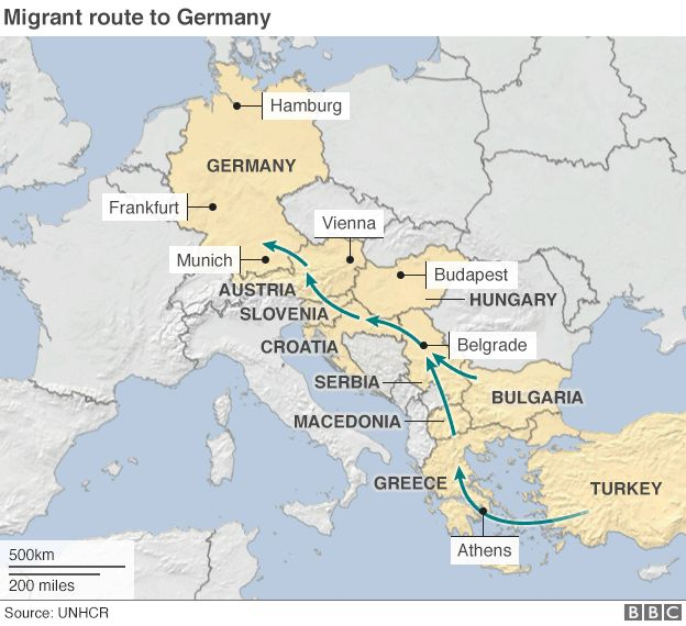 Migrant route to Germany map