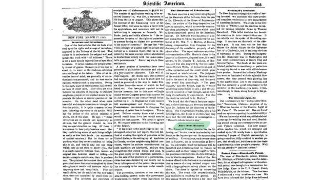 Página da revista Scientific American de 1849 em que foi relato o ataque feito com balões, os