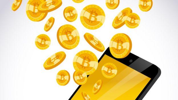 Ilustración de celular y bitcoins.