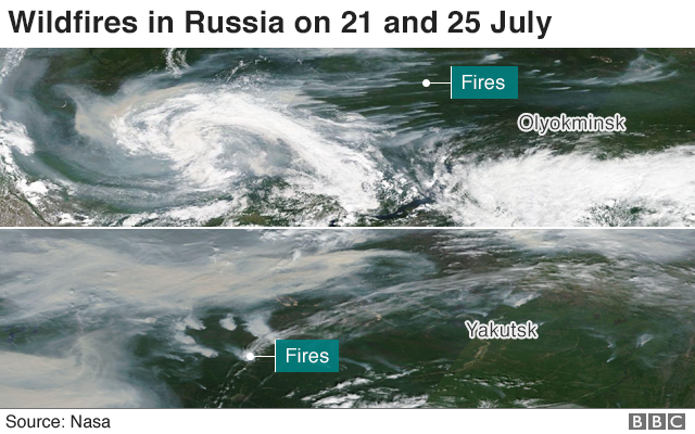 Satellite images show wildfires in Russia