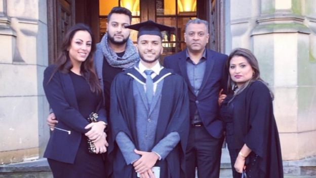 Sameer at graduation with his family