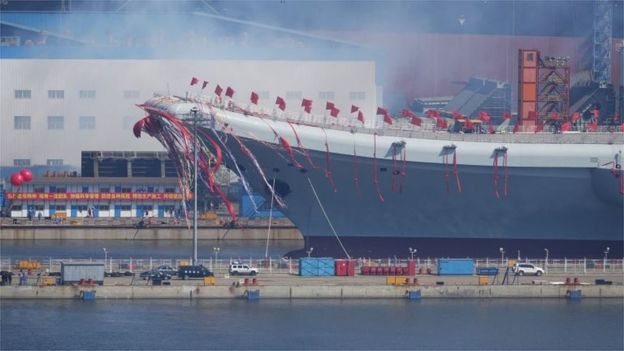 The carrier is launched in Dalian