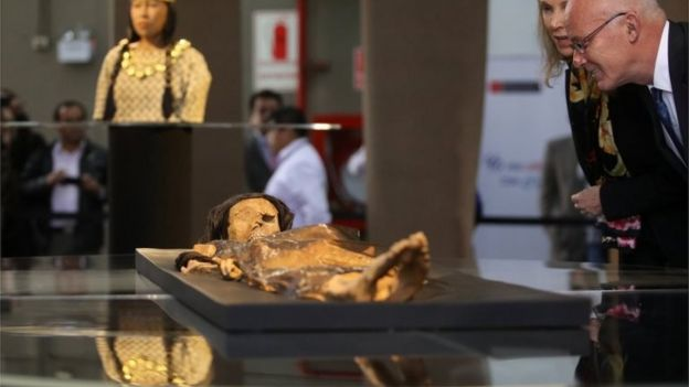 The Lady of Cao, a female mummy found at the archaeological site Huaca El Brujo, a grand pyramid of the ancient Moche pre-hispanic culture, at the Ministry of Culture in Lima, Peru July 4, 2017