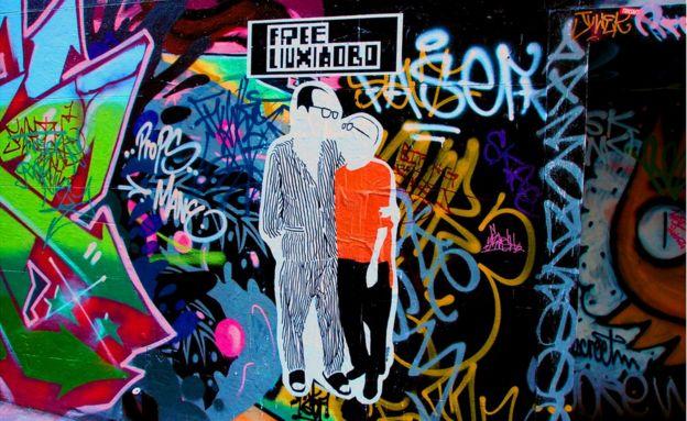 Tranh tường ở Melbourne, Úc, vẽ ông Lưu Hiểu Ba và bà Lưu Hà