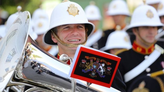 Bandsmen from the Royal Marines marched through Salisbury with smiles on their faces