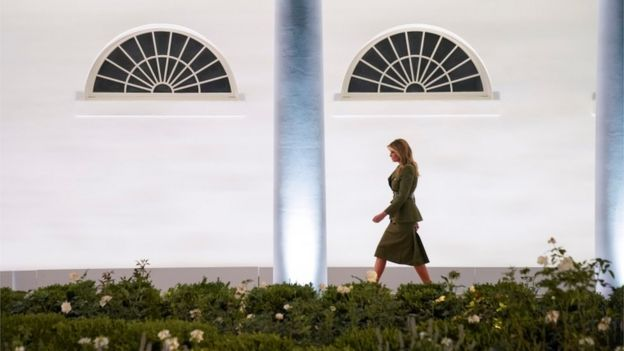 Melania walks to the podium