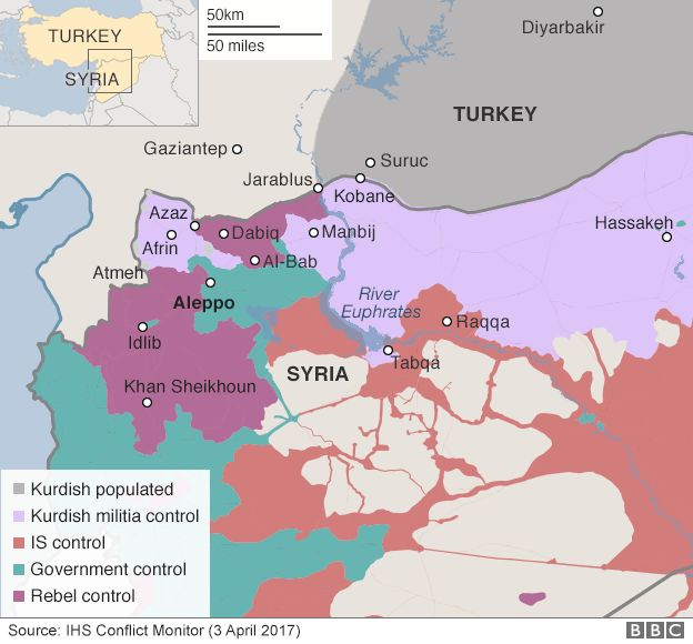 Syria chemical attack down to assad us says bbc news map showing control of northern syria 3 april 2017 gumiabroncs Image collections