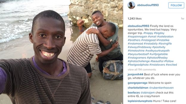 Selfie of an actor playing a migrant