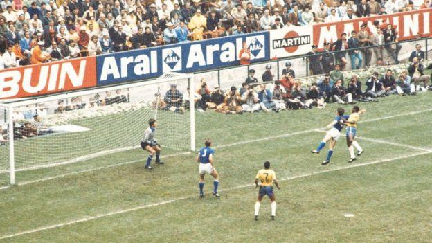Pele opens the scoring in Brazil's 4-1 final win over Italy