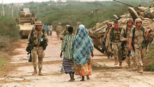 Soldiers from the United States in Somalia in 1993.