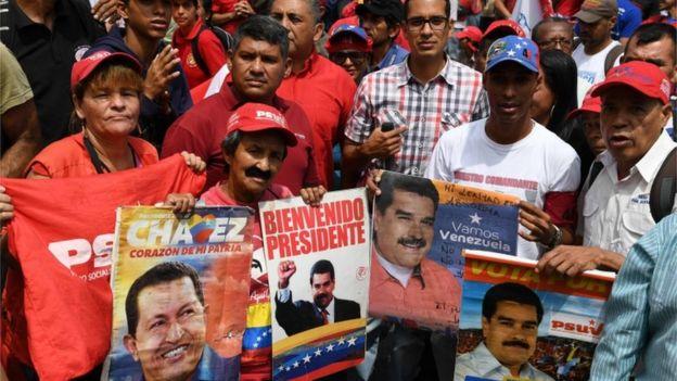 protestas a favor de Maduro.
