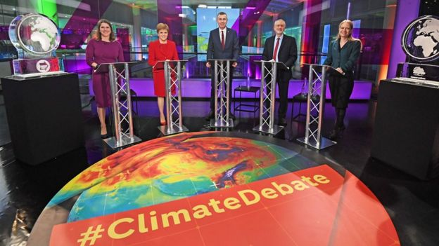 Five of the party leaders took part in a Channel 4 climate debate in London at the end of November