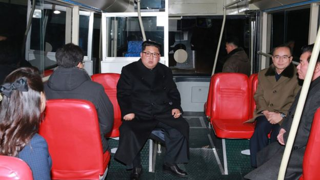 Kim Jong-un and his wife Ri Sol-ju take a midnight bus ride around Pyongyang earlier this year