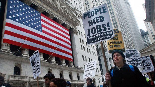 Una protesta frente a Wall Street