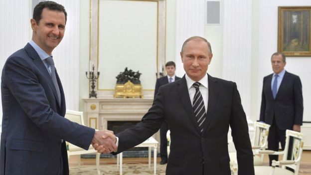 Bashar al Asad con Vladimir Putin