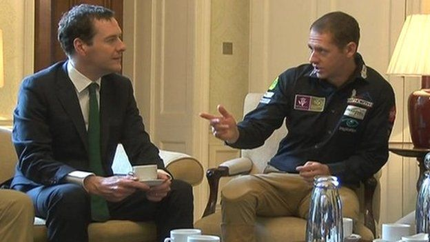George Osborne with Peter Bowker