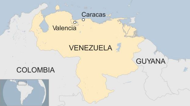 Map showing Venezuela and Valencia, and capital Caracas