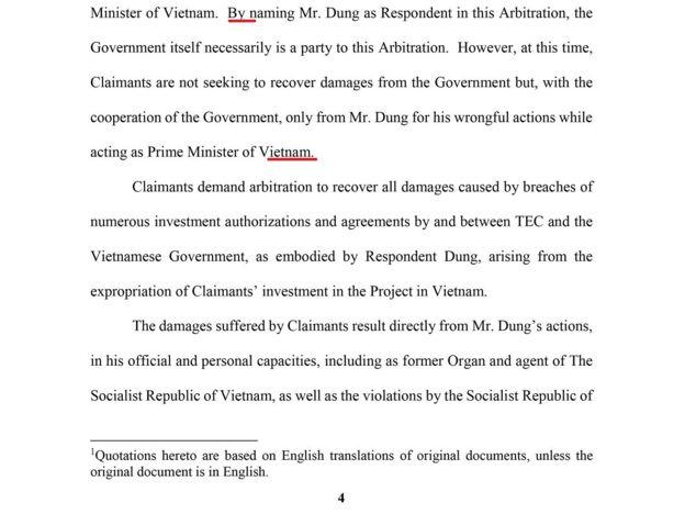 Trang 4 của Thông báo Vụ kiện của Nguyên đơn Đặng Thị Hoàng Yến và Bị đơn Nguyễn Tấn Dũng