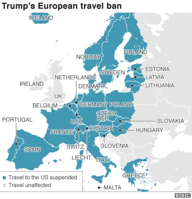 US flight ban map
