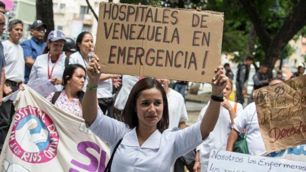 Protesta en Venezuela por la crisis hospitalaria