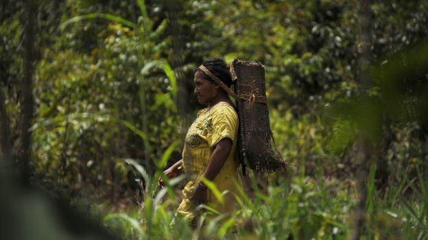 Imagem mostra mulher integrante da tribo dos Piaroa.