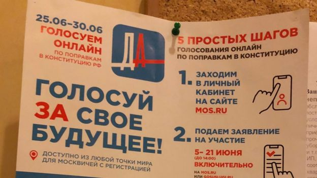 "This sign reading ""vote FOR your future"" went up in Russian flats"