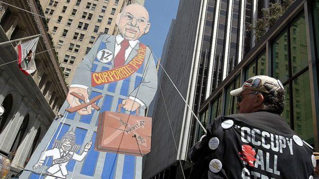 Protesto contra grandes empresas